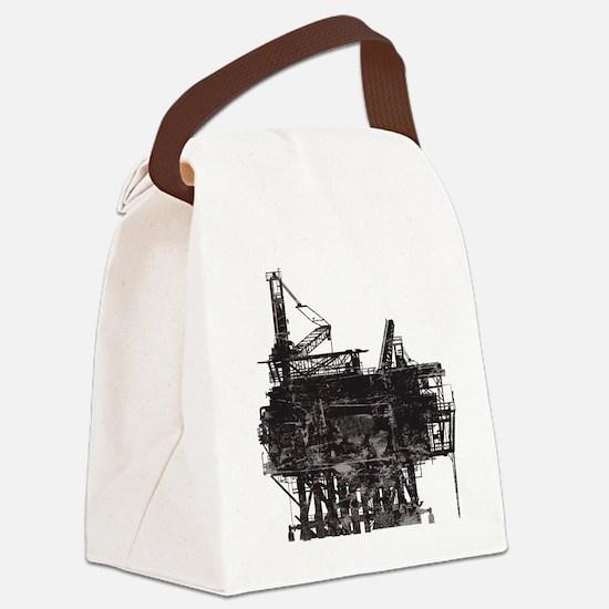 Vintage Oil Rig Canvas Lunch Bag