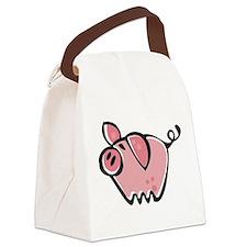 Cute Cartoon Pig Canvas Lunch Bag