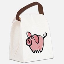 Cute Cartoon Pig Canvas Lunch Bag