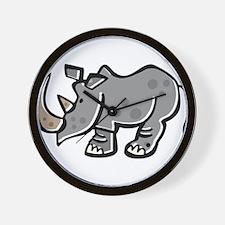 Cute Cartoon Rhinoceros Wall Clock