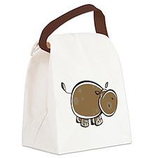 Cute Cartoon Hippo Canvas Lunch Bag