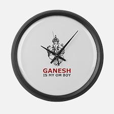 Hinduism Ganesh Is My Om Boy Large Wall Clock