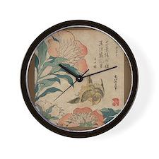 Hokusai Peony and Canary Wall Clock