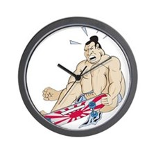 Skateboarding Sumo Wrestler Wall Clock