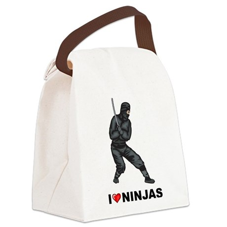 I Love Ninjas Canvas Lunch Bag