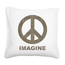Vintage Imagine Peace Square Canvas Pillow