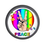 Colorful Peace Symbol Wall Clock