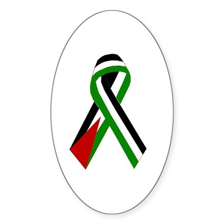 Palestinian Ribbon for Peace & Just Oval Sticker