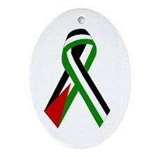Palestinian Ribbon for Justice Oval Ornament