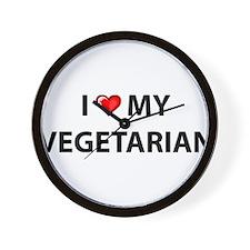 Love My Vegetarian Wall Clock