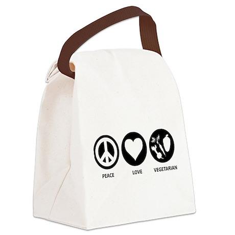 Peace Love Vegetarian Canvas Lunch Bag