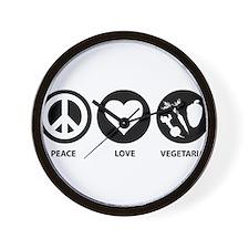 Peace Love Vegetarian Wall Clock