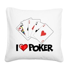 I Love Poker Square Canvas Pillow