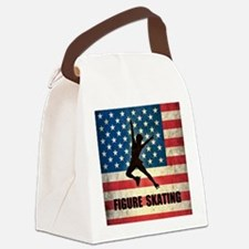 Grunge USA Figure Skating Canvas Lunch Bag