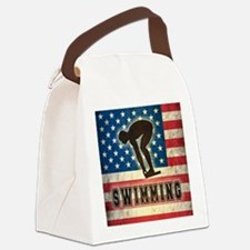 Grunge USA Swimming Canvas Lunch Bag