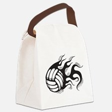 Flaming Volleyball Canvas Lunch Bag