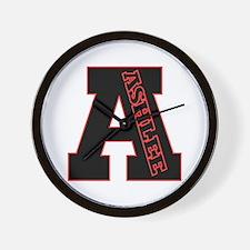 ASHLEE Letterman design Red/b Wall Clock