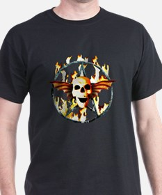 pentagram devil wingskull burning fire T-Shirt