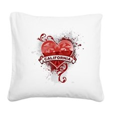 Heart California Square Canvas Pillow