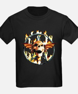 pentagram devil wingskull burning fire T