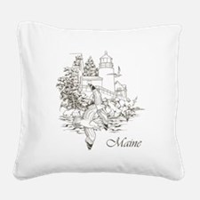 Maine Nubble Lighthouse Square Canvas Pillow