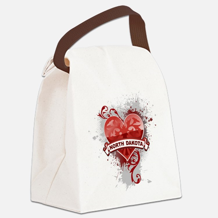Heart North Dakota Canvas Lunch Bag