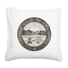 Vintage Ohio Seal Square Canvas Pillow