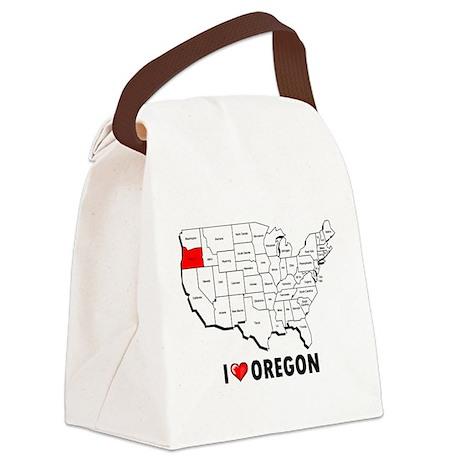 I Love Oregon Canvas Lunch Bag