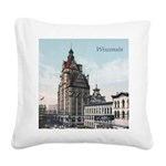 Grunge Wisconsin Flag Square Canvas Pillow