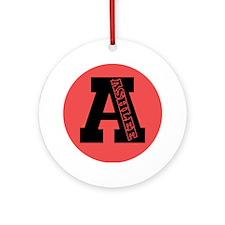 ASHLEE Letterman design Red/b Ornament (Round)
