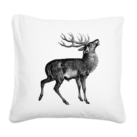 Red Deer Stag Square Canvas Pillow