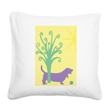 basset hound tree.jpg Square Canvas Pillow