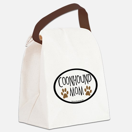 coonhound mom oval.png Canvas Lunch Bag