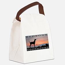 sunset coonhound redbone.jpg Canvas Lunch Bag