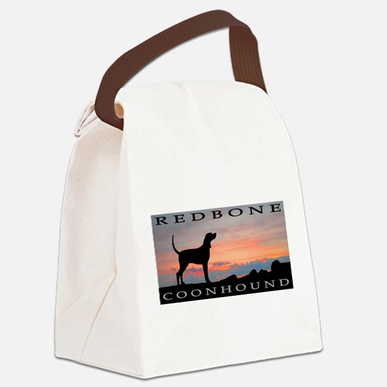 sunset coonhound redbone.jpg Canvas Lunch Bag
