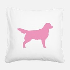 golden retriever pink.png Square Canvas Pillow