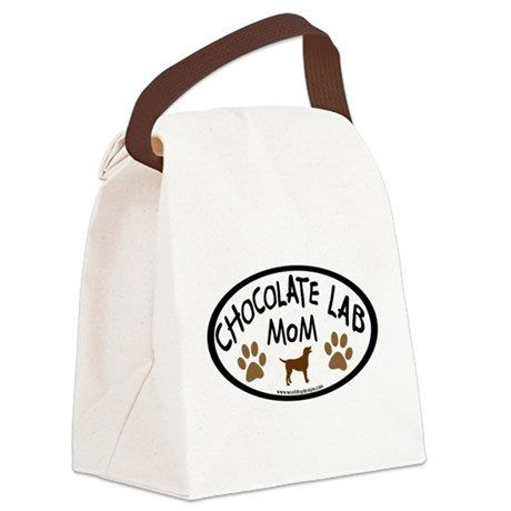 chocolate lab mom oval wh.png Canvas Lunch Bag