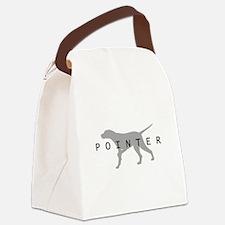 pointer dog grey txt.jpg Canvas Lunch Bag
