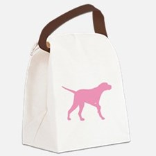 Pink Pointer Dog Canvas Lunch Bag