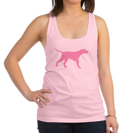 Pink Pointer Dog Racerback Tank Top