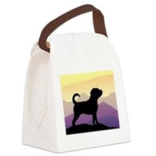 purple mountains puggle wd4.png Canvas Lunch Bag