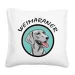 weimaraner head in teal circle.jpg Square Canvas P