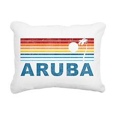 Retro Palm Tree Aruba Rectangular Canvas Pillow
