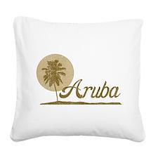 Palm Tree Aruba Square Canvas Pillow
