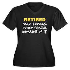 Retired Senior Women's Plus Size V-Neck Dark T-Shi