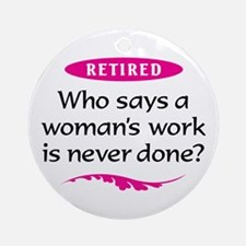 Retired Woman Ornament (Round)