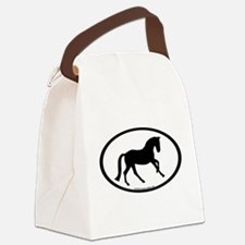 canter oval black.png Canvas Lunch Bag