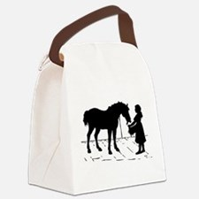 girl and horse eating hay wide.png Canvas Lunch Ba