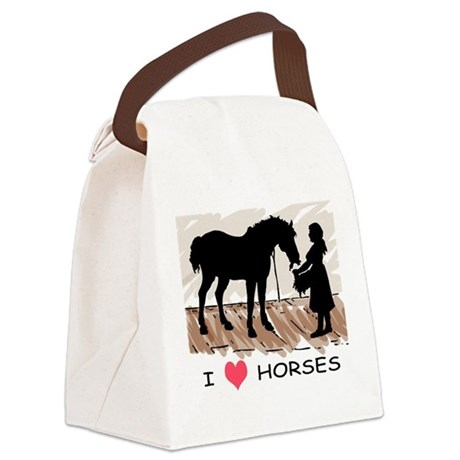 girl and horse eating hay black colored.png Canvas