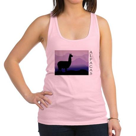 alpaca purple mountain wide text.png Racerback Tan